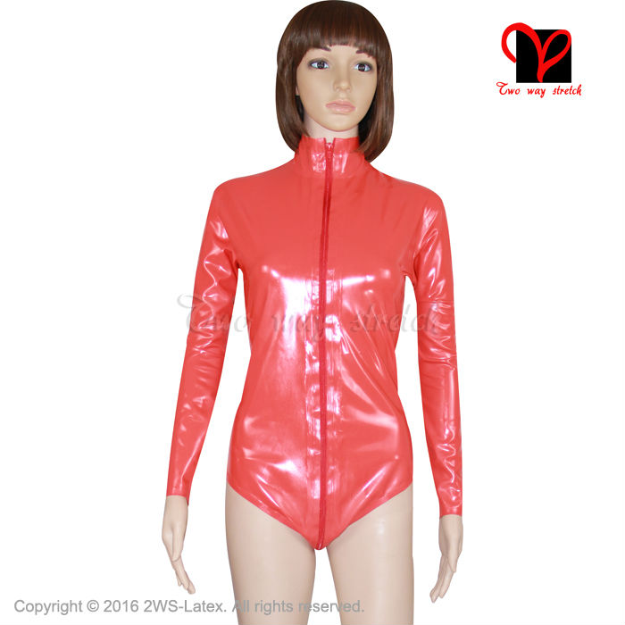 228ff34fe3296 Detail Feedback Questions about Red Sexy Latex catsuit Leotard high collar Rubber  Bodysuit Gummi jumpsuit cat suit jump body tights long sleeved XXL TC 006  ...