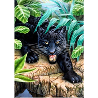 DIY Diamond Painting Mosaic Pattern Black Leopards Crystal Rhinestones Pasted 5D Cross Stitch Home Decorative Figure