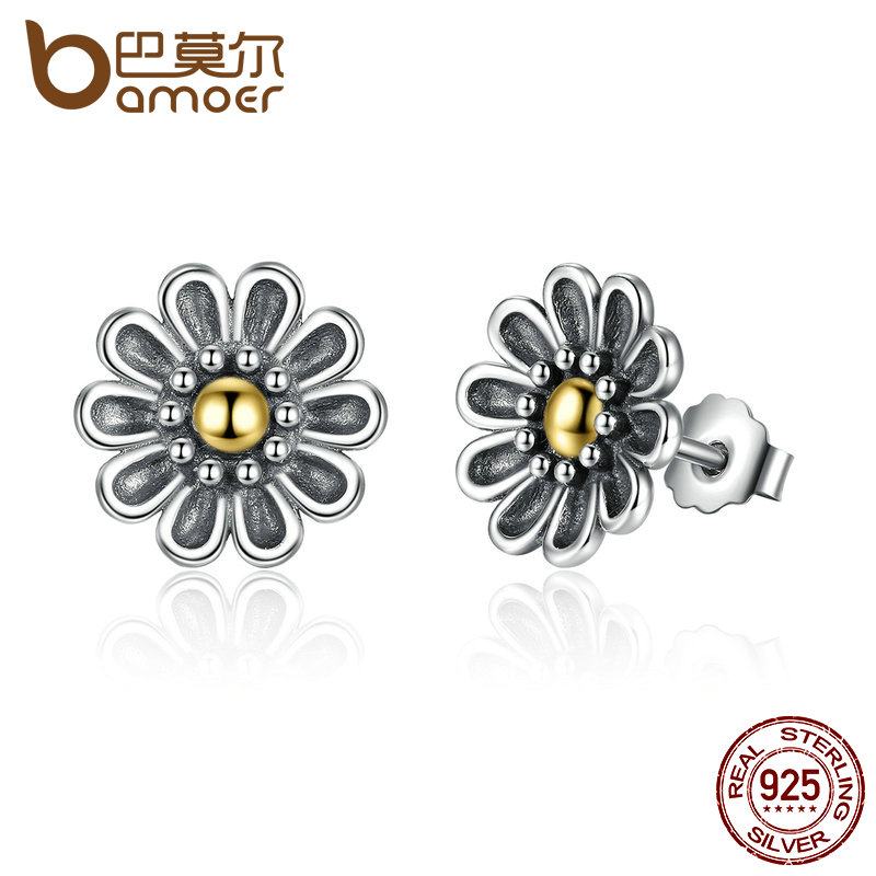 BAMOER Authentic 100% 925 Sterling Silver Black Chrysanthemum Flower Stud Earrings For Women Fine Jewelry PAS455 bamoer original 925 sterling silver dazzling daisy flower stud earrings for women jewelry pas434