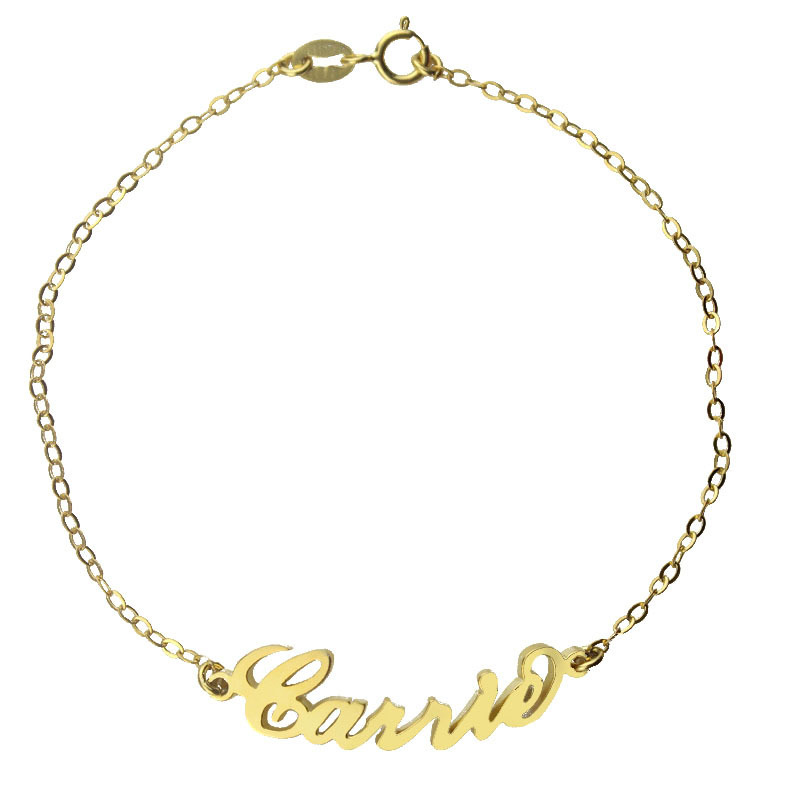 Freeshipping--Carrie Style Name Bracelet Gold Color over Silver Anklet -Role Chain Personalized Name Jewelry
