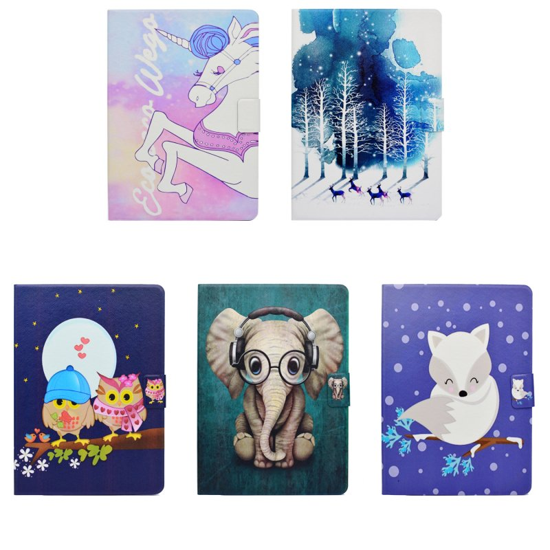 Cover Case For Amazon kindle Fire HD 8 2016 2017 Tablet Accessory PU Leather Wallet Stand Flip Unicorn Elephant Owl Coque Etui