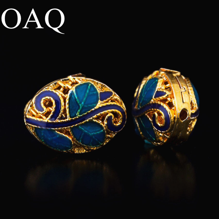 10 13mm Cloisonne Metal Beads For Jewelry Making Spacer Beads For Necklaces 2pcs Leaf Patter DIY