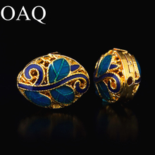 10*13mm Cloisonne Metal Beads For Jewelry Making Spacer Beads For Necklaces 2pcs Leaf Patter DIY Accessories