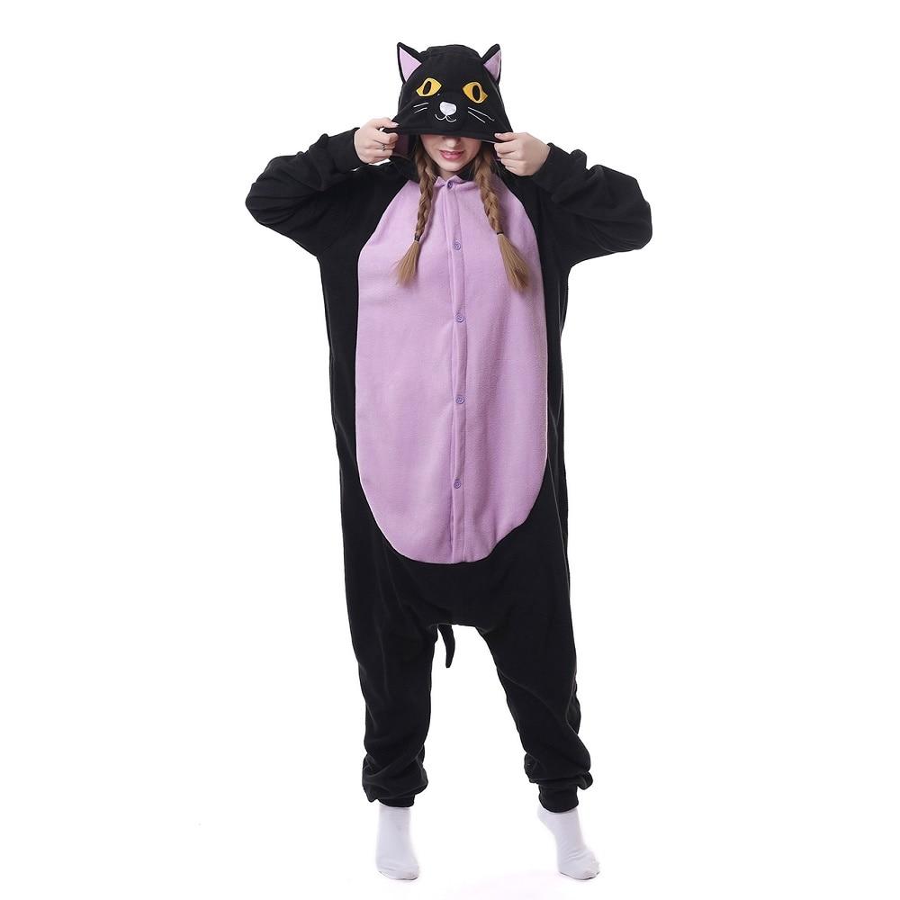 Kigurumi Adult Women Animal Black Cat Onesie Belly Fantasy One Piece Jumpsuit Polar Fleece Loose Cute Pajama Winter Sleep Suit