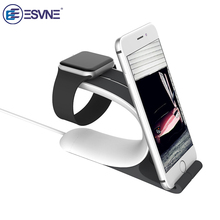 ESVNE Desktop Stand Mobile Phone Holder for iWatch Series 2/1/iPhone for Apple Watch Wireless Charging Support cellular phone the new listing of the exclusive sales of apple mobile phone support iwatch watch charging base high grade plastic free shipping