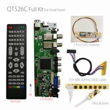 QT526C V1.3 Digital Signal DVB S2/T2/C ATV LCD Driver Board Dual USB Russian T.S512.69+7Key + 1ch 6bit lvds cable +CCFL inverter