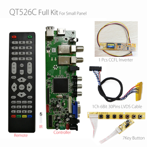 Image 1 - QT526C V1.3 Digitale Signaal DVB S2/T2/C Atv Lcd Driver Board Dual Usb Russische T.S512.69 + 7Key + 1ch 6bit Lvds kabel + Ccfl Inverter