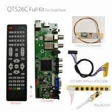 Qt526c v1.3 sinal digital DVB S2/t2/c atv lcd driver placa dupla usb russo t. s512.69 + 7key + 1ch 6bit lvds cabo + ccfl inversor