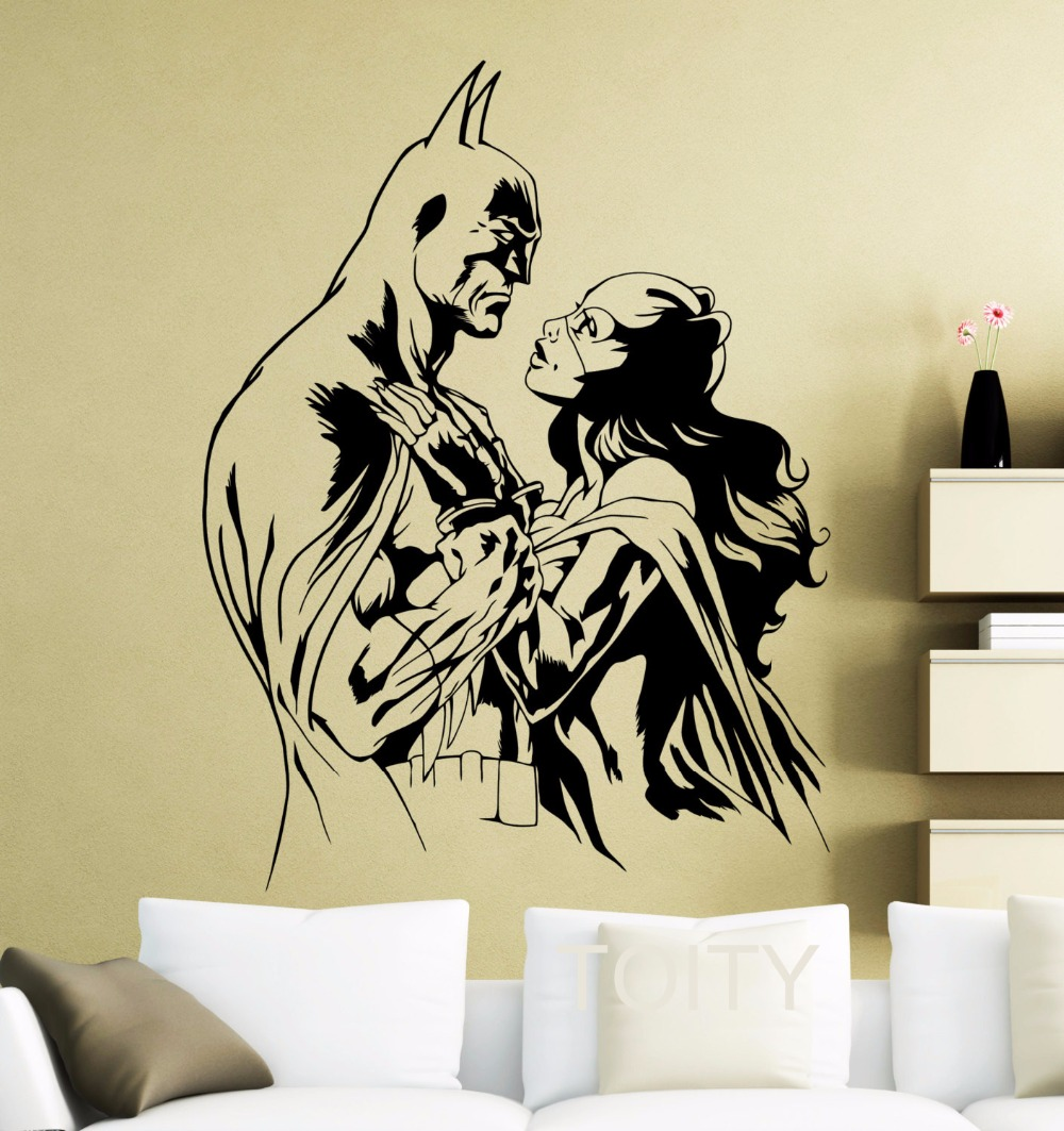 Batman Batgirl Wall Sticker Movie Poster Dark Knight Superhero DC ...