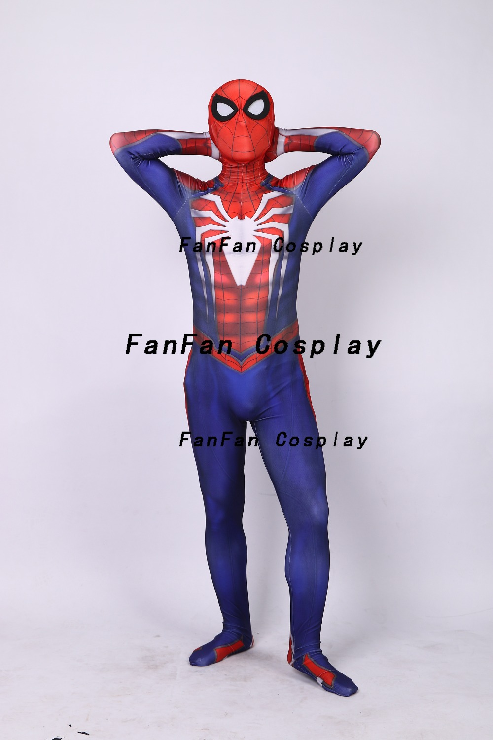 PS4 Spiderman Game Cosplay Costume Zentai Spiderman Bodysuit Suit Jumpsuits Adult Kids Costume for Halloween image