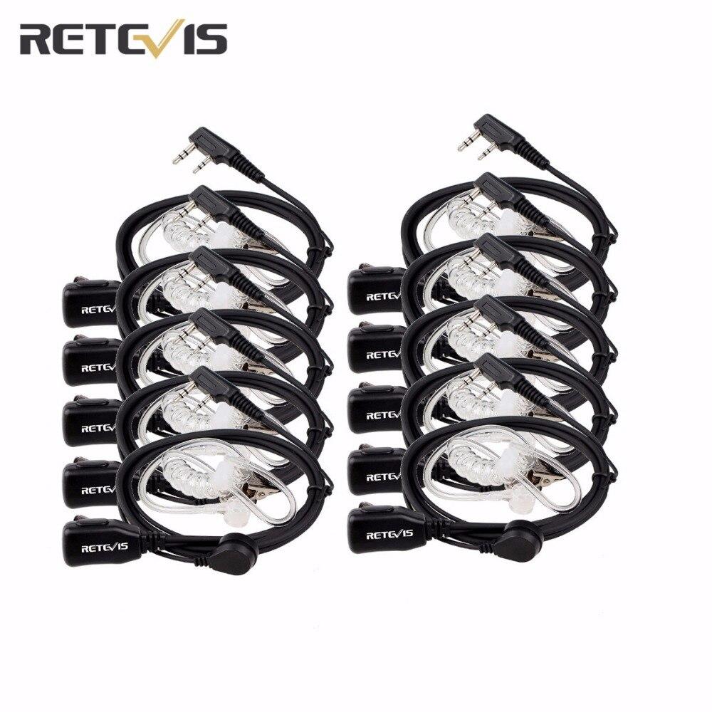 10 stück Retevis 2 Pin PTT MIC Headset Covert Akustische Rohr In-ohr Hörer Für Kenwood Für Baofeng Ham Handliche Radio c9003