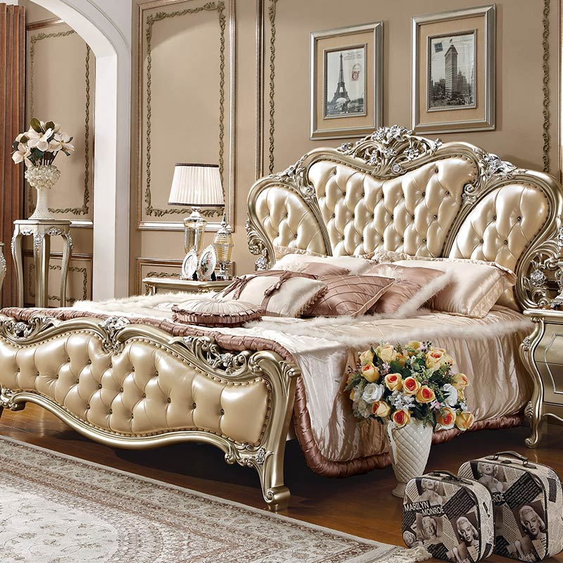 European style luxury king size wooden bedroom furniture/classic bed ...