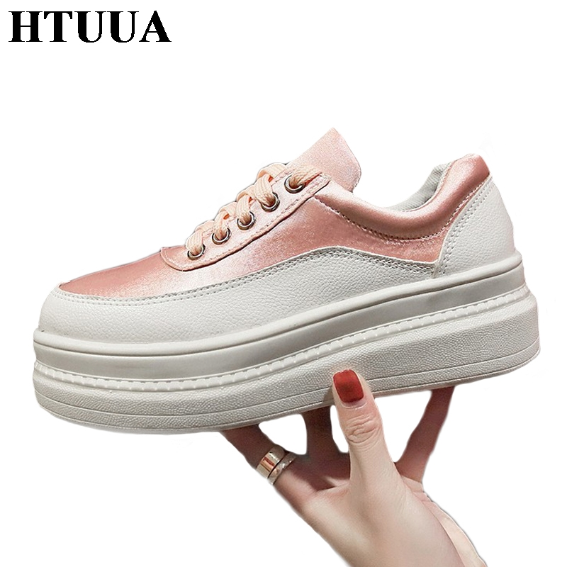 HTUUA 2019 Fashion Chunky Platform Sneakers Women Casual Shoes Ladies Pink White Sneakers Cozy Breathable Flat Shoes Woman S3046(China)