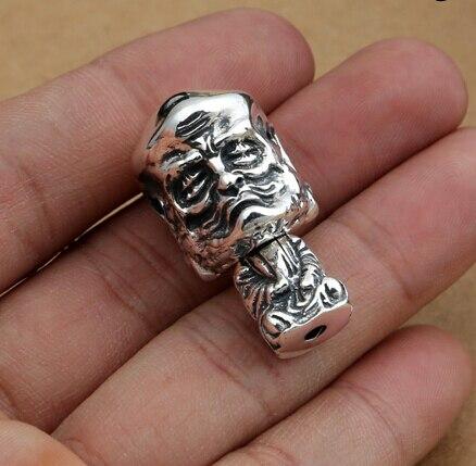 Perle de gourou en argent 925 fait à la main en argent pur avec des perles de prière bouddhistes