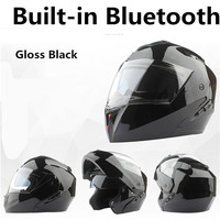 BLUETOOTH Motorcycle Helmet Black Moto Full Face Retro Scooter Helmets Motorbike Riding Helmet Men Motocross Helmet Casco Moto
