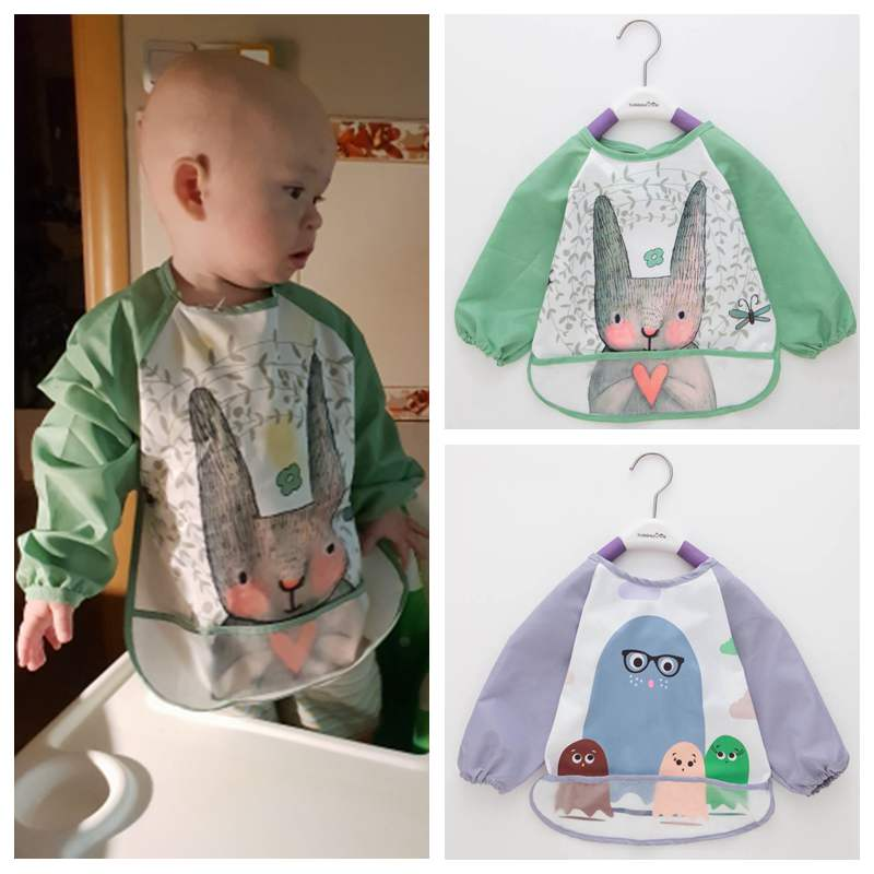 2019 Cute Baby Bibs Toddler Baberos Bavoir Waterproof Long Sleeve Apron Cartoon Animals Children Feeding Smock Bib Baby Stuff(China)