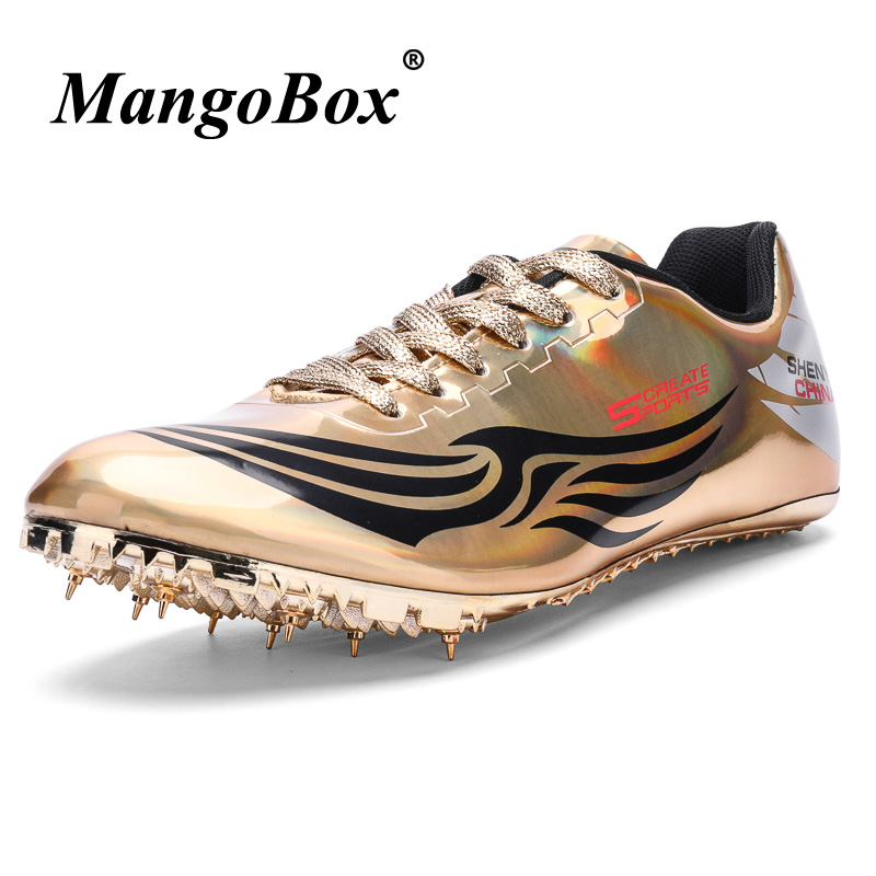 Unisex Track & Field Shoes Pu Spikes Sneakers for Running Non Slip Athletics Spikes for Running Gold Silver Nails Shoes