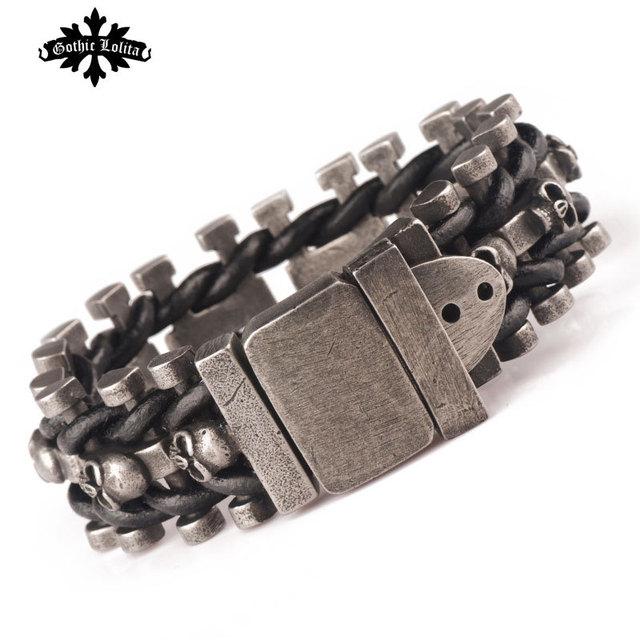 Wide  skull skeleton leather bracelet for  men  with stainless steel cuff loom brands Belt Buckle