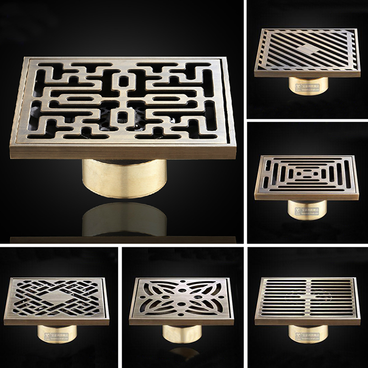 luxury brass art carved flower decorative cover bathroom floor waste grate shower drain floor square drainer