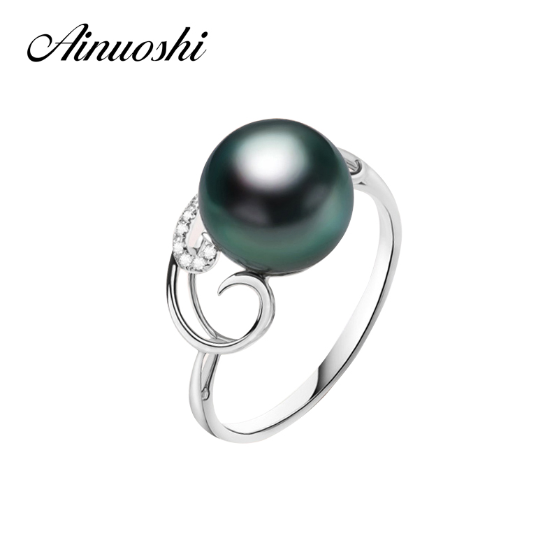 AINUOSHI Black Cultured Pearl Tahiti Luxury Queen Gift Ring 10mm Round Pearl Jewelry 925 Sterling Silver Twisted Women Ring vintage faux pearl twisted cuff ring for women