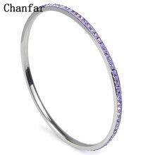 Chanfar 1 Row Classic Stainless Steel Style & High Quality Women Elegant Round Love Bangle Bracelet Jewelry