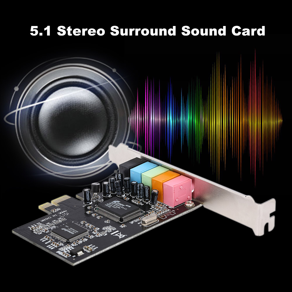 PCI-E Express Card 5.1 Sound 5 Port Sound Card Stereo Surround Sound Card For Desktop Computer Black