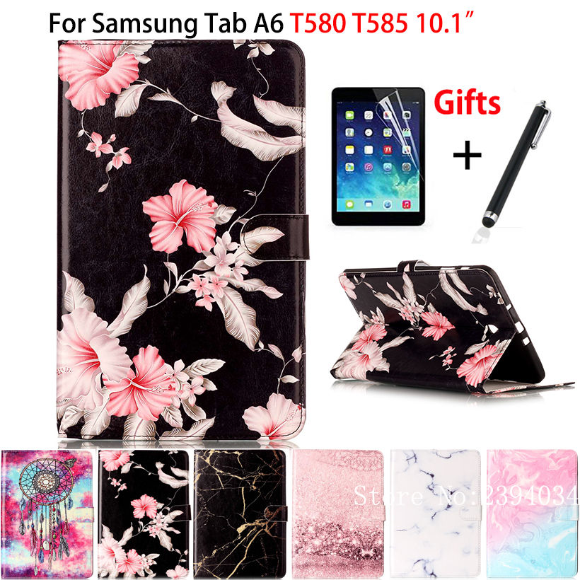 Marble Pattern Cover For Samsung Galaxy Tab A A6 10.1 2016 T580 T585 T580N Case Funda Tablet Book TPU+PU Leather Shell+Film +Pen kinston beautiful moth pattern pu leather full body case for samsung galaxy s5 deep pink white