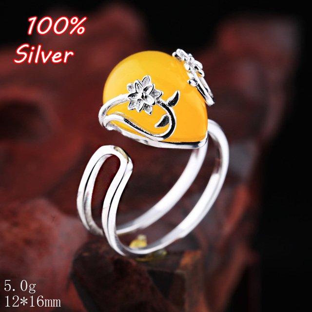 100 925 Pure Silver Ring Is Set With Amber Turquoise For The Female 12