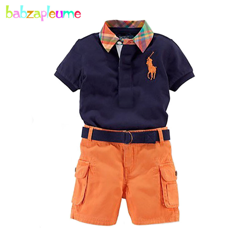 New Kids Boys Clothes Gentleman Casual boys Clothing teens Sport suits Short-Sleeve Shirt+Pant 2PCS Toddler Boys Kidswears A264
