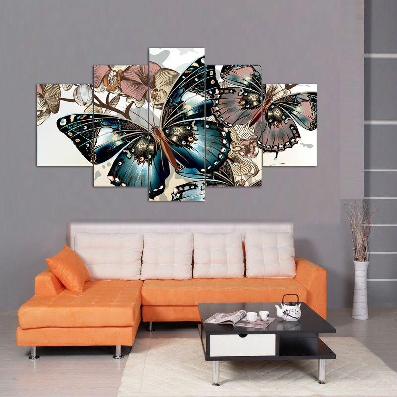 Enmarcado impresa mariposa pintura decorativa en salón dormitorio ...