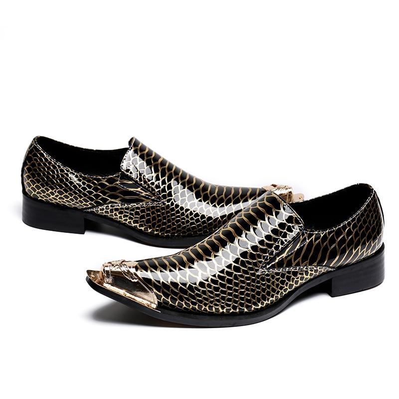 Luxo Brogue Hombre Mens Show Zapatos Vestido Flats De Sapatos Moda Alpercatas Toe Marca Designer as Festa Show Dos Couro Apontou Homens Metal As xOddwgqY
