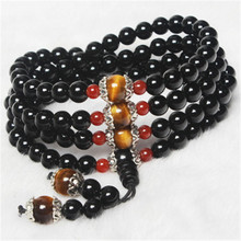 Natural Stone Black Agate Bracelet Round Bead Silver Red Tiger Eye Lucky Bangle Women Crystal Quartz Jewelry Love Energy Gift lii ji natural stone black onyx agate clear quartz crystal with jade clasp bracelet for women party
