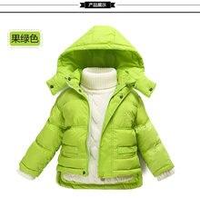 Толстые дети пуховик мальчиков и девочек ребенка детские детская одежда короткие пальто съемный колпачок зима Верхняя Одежда и Пальто