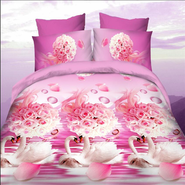 Pink Rose Bedding Set Queen Size 4pcs Oil Painting Duvet Cover Sets 2017new Luxury White
