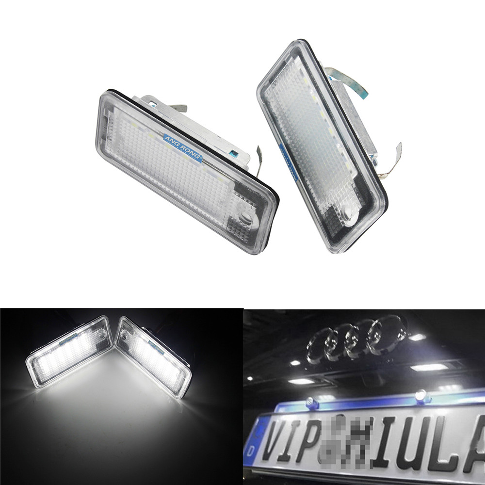 ANGRONG 2X For Audi LED License Number Plate No Error Light A3 S3 A4 S4 RS4 A6 S6 A8 S8 Q7 2x no error led license plate light for gmc terrain buick encore lacrosse verano car styling accessory tail number plate lamp