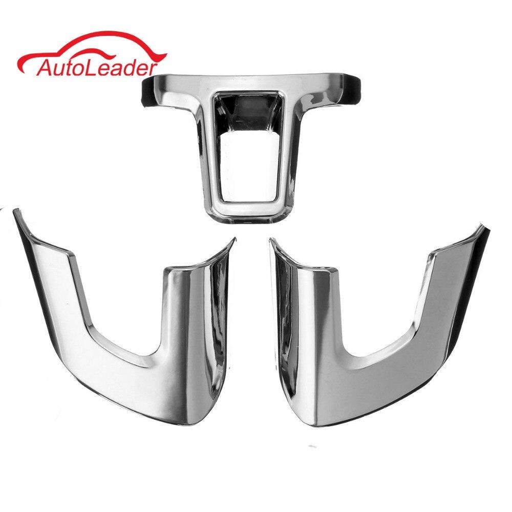 3PCs/Set Steering Wheel Sticker ABS Chrome Trim Steering Wheel Cover For Volkswagen /VW GOLF POLO JETTA MK5 MK6 Bora