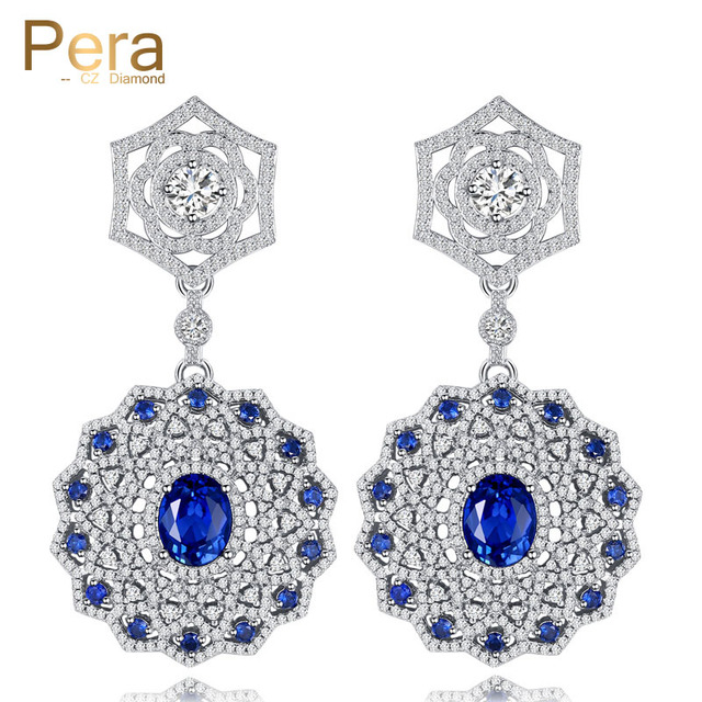 Pera Elegant Design Jewelry Costume Accessories Russian Women Wedding Party Round Long Drop Earrings With