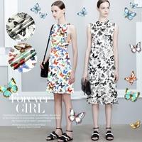 Heavy digital inkjet printing of silk fabric Silk Fabric Stretch Satin clothing material Diewu summer solstice