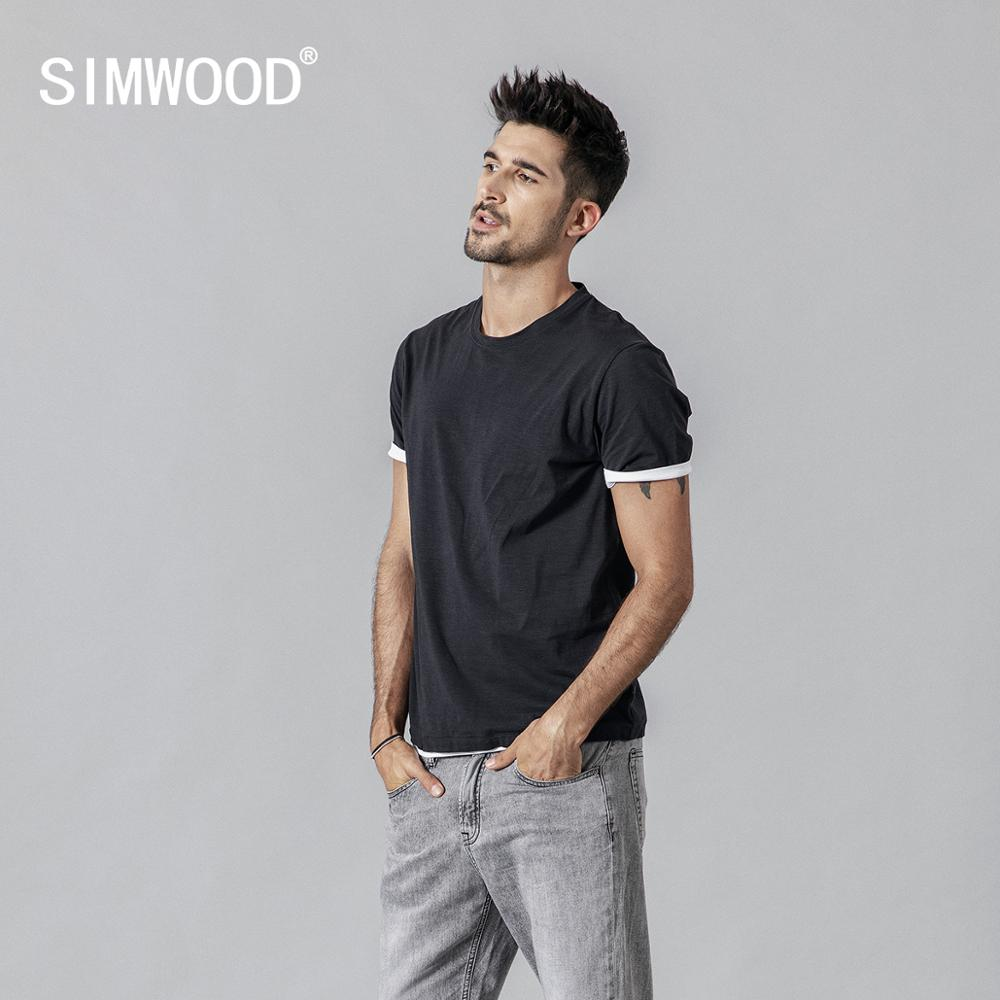 SIMWOOD 2020 Summer New T Shirt Men Contrast Bindings T-shirt Casual O-neck Top  Tees High Quality Brand Clothing Tshirt  190354