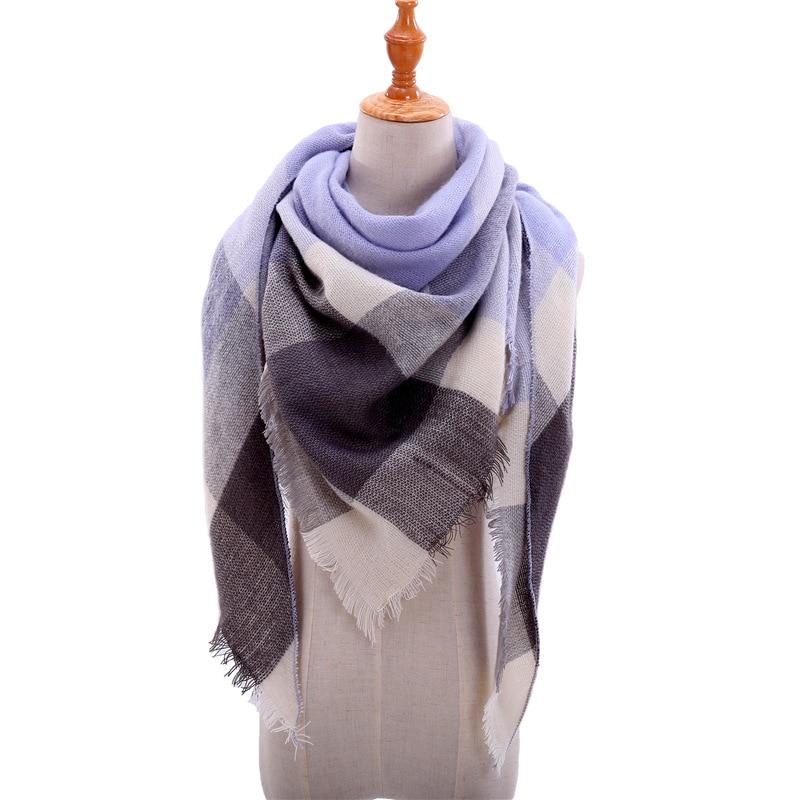 2019 Fashion winter warm Plaid Triangle Cashmere scarf for women Striped Blanket knitted shawl and Wraps Pashmina Female foulard|Women