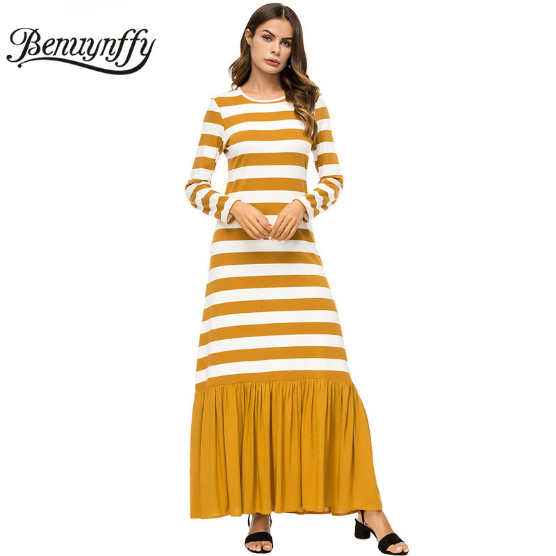 d6d9172f328 Benuynffy Women s Striped Patchwork Long Sleeve Pleated Hem Dresses Autumn  winter Women Casual Round Neck Knitted Maxi Dress-in Dresses from Women s  ...