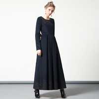 Luxury Autumn Winter Cotton Wool Navy Long Dress Embroidery New Year Party Night Dress Evening Maxi Clothing DH1053