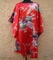 Envío Libre Rojo Albornoz de Las Mujeres Chinas de Seda Rayón Robe Kimono Vestido peafowl Un Tamaño Trece Colores Al Por Mayor