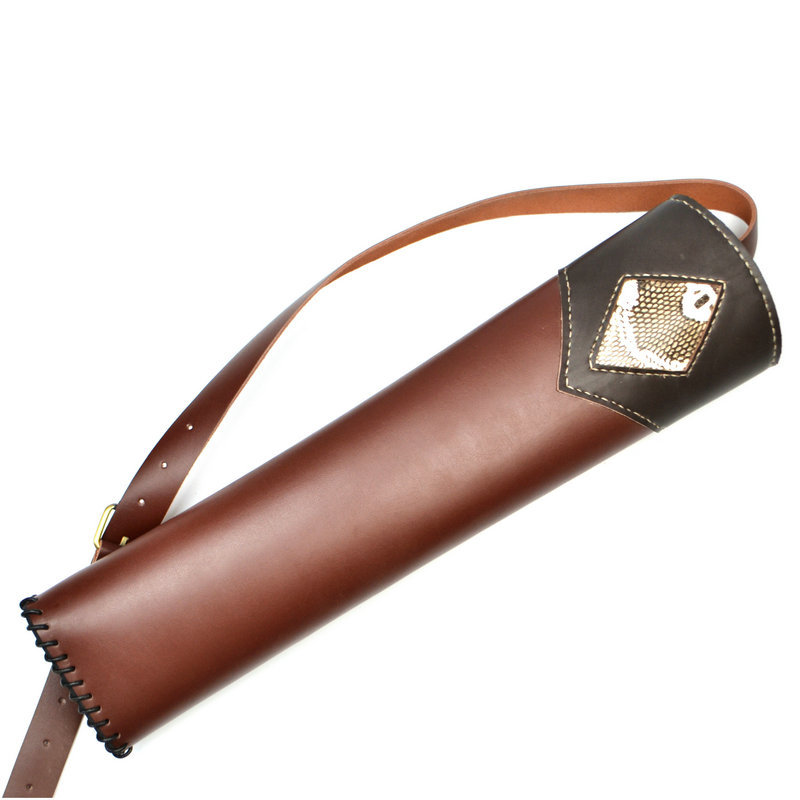 New Hand Crafted Single shoulder back type Top Head Layer Cowhide Leather Archery Quiver Black+Brown holding for Hunting outdoor camouflage archery hunting arrow quiver water resistant archery quiver holder caza arrows bow quiver bag with zipper