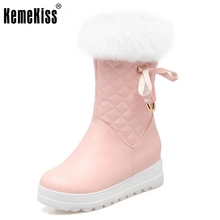 Russia Women Winter Warm Snow Boots Ladies Sweet Bowtie Style Mid Calf Botas Woman Round Toe Flat Zipper Shoes Size 34-43