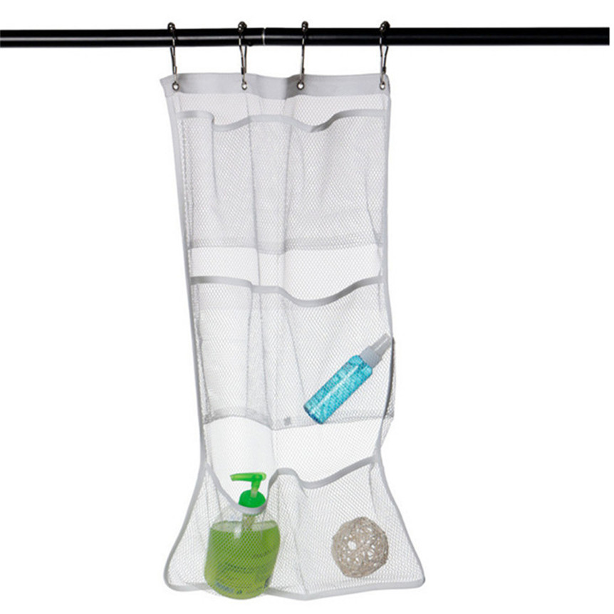 kitchen organizer 2017 New 6 Pocket Bathroom Tub Shower Bath Hanging Mesh Organizer Caddy Storage Bag+ Hook drop shipping 0606