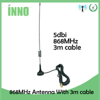5pcs/lot 868Mhz 900 to 1800 Mhz Gsm Antenna 3G 5dbi Sma Male With 300cm Cable RG174 Sucker Antenna