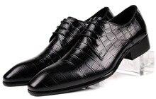 Мода черный/коричневый загар мужские бизнес обувь из натуральной кожи свадебные туфли острым носом мужские ботинки платья бесплатная доставка