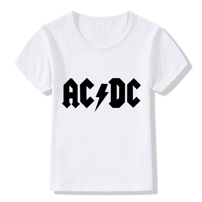Childrens ACDC Design Funny Black Letter T shirt for Kids Cool Hip Hop Rock Tshirt Boys Girls O-neck White T-shirt Basic Tops