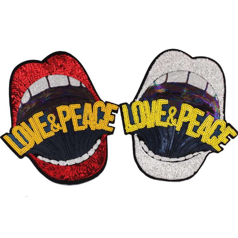 Fashion Icon 26cm red lips love&peace sequins patches for clothing embroidery biker patch diy applique clothes t shirt stickers